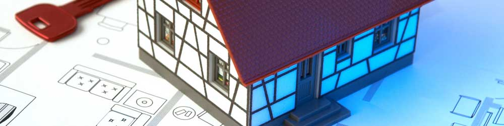 Toy House and Key on Blueprint